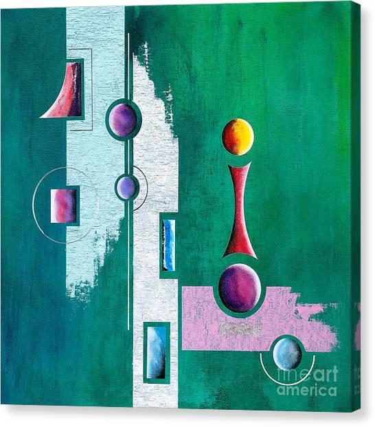 Green Geometrical Play Canvas Print by Franziskus Pfleghart