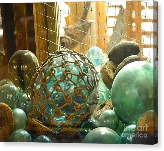 Green Glass Japanese Glass Floats Canvas Print