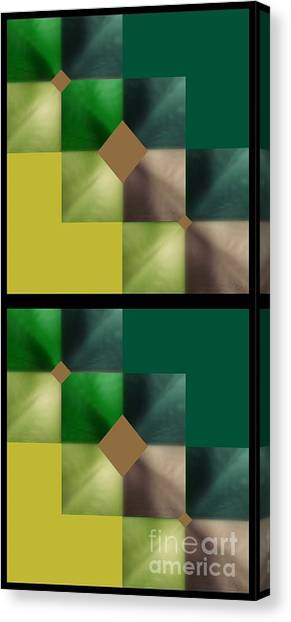 Green Glow Check Canvas Print