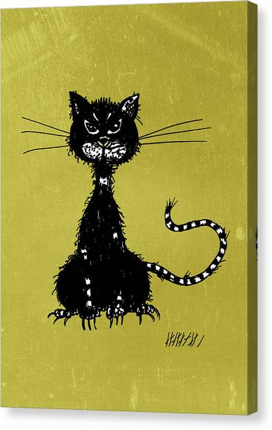 Green Grunge Evil Black Cat Canvas Print