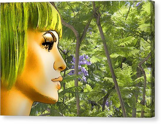 Green Hair And Jacaranda  Canvas Print