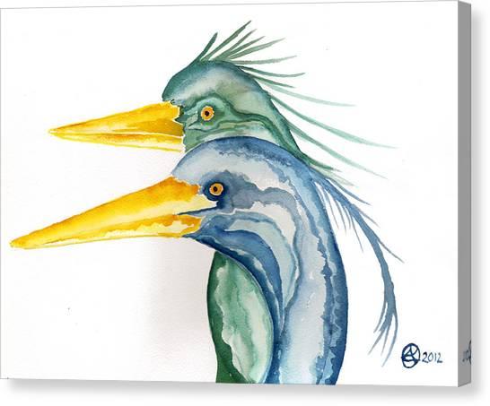 Green Herons Canvas Print by Alexandra  Sanders