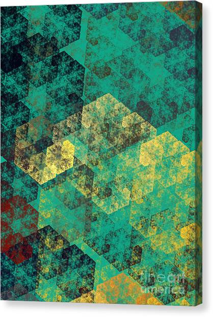 Andee Design Black Canvas Print - Green Hexagon Fractal Art 3 Of 3 by Andee Design