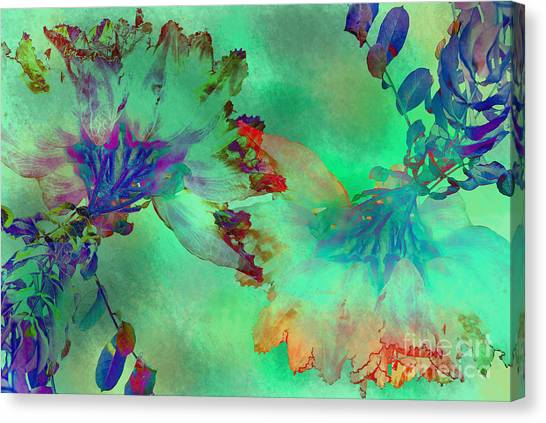 Green Hibiscus Mural Wall Canvas Print