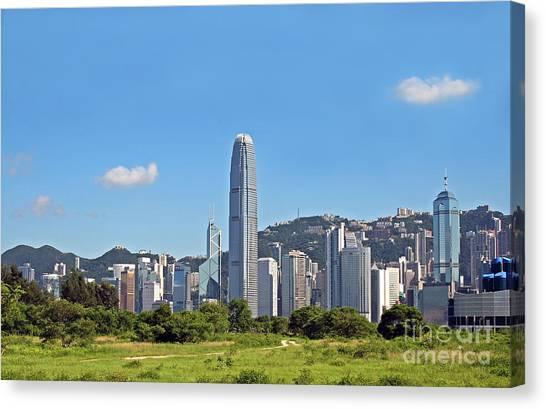 Hongkong Canvas Print - Green Hong Kong Skyline by Lars Ruecker