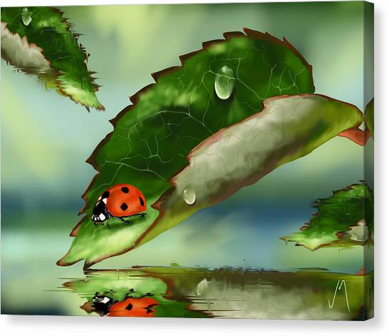 Ladybugs Canvas Print - Green Leaf by Veronica Minozzi