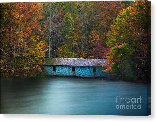 Canvas Print featuring the photograph Green Mountain Covered Bridge Huntsville Alabama by T Lowry Wilson