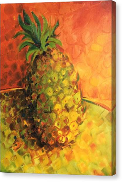 Green Orange Pineapple Canvas Print