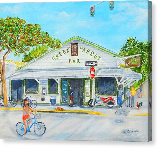 Green Parrot Bar Canvas Print