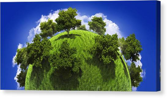 Summer Canvas Print - Green Planet Earth by Vitaliy Gladkiy