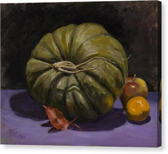 Green Pumpkin With Friends Canvas Print by Billie Colson