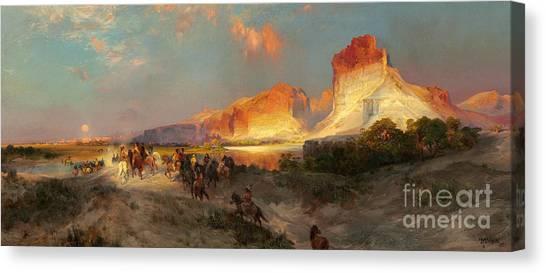 Moran Canvas Print - Green River Cliffs Wyoming by Thomas Moran