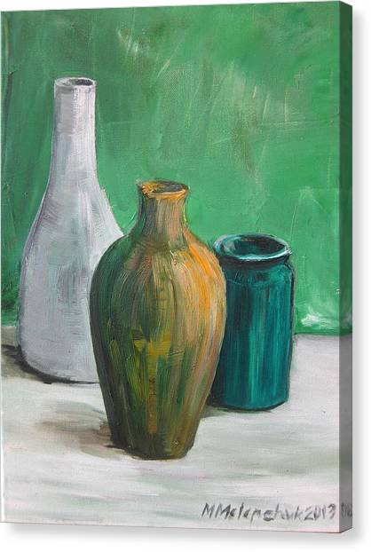 Green Still Life 2013 Canvas Print by Maria Melenchuk