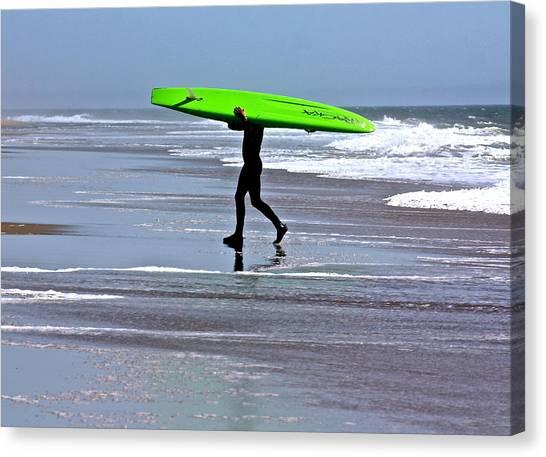 Green Surfboard Canvas Print