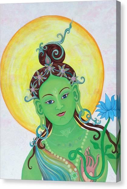 Green Tara Canvas Print by Sarah Grubb