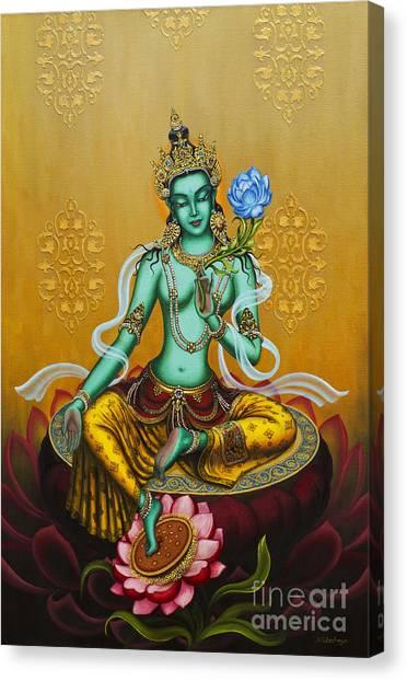 Celestial Canvas Print - Green Tara by Yuliya Glavnaya