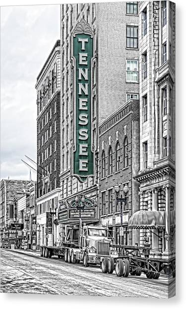 Green Tennessee Theatre Marquee Canvas Print