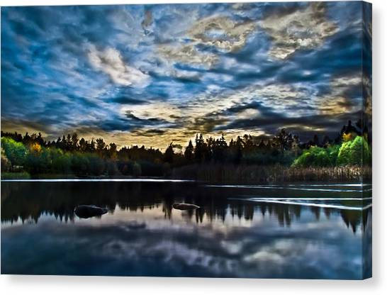 Green Timbers Park With Blue Sunset Canvas Print