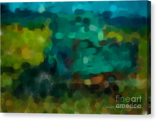 Green Truck In Abstract Canvas Print