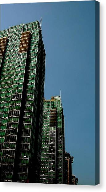 Green Vancouver Towers Canvas Print