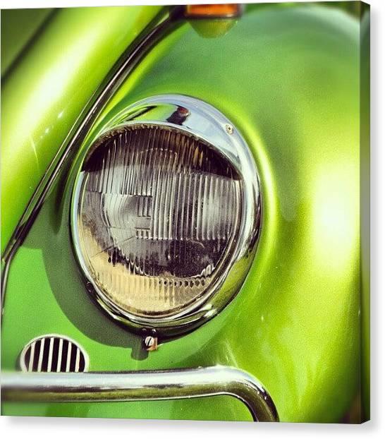 Beetles Canvas Print - Green Vw Beetle by Kirsten Hocking