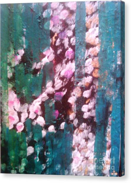 Canvas Print featuring the painting Green Warrior by Ilona Svetluska