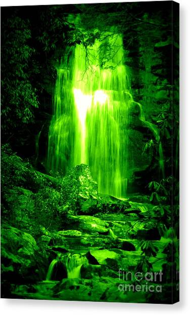Green Waterfall Canvas Print