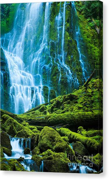 Mossy Forest Canvas Print - Green Waterfall by Inge Johnsson