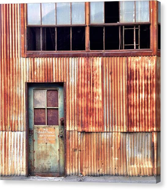 Industrial Canvas Print - Green With Rust by Julie Gebhardt