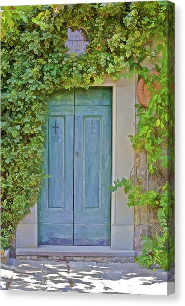 Green Wood Door Of Tuscany Canvas Print