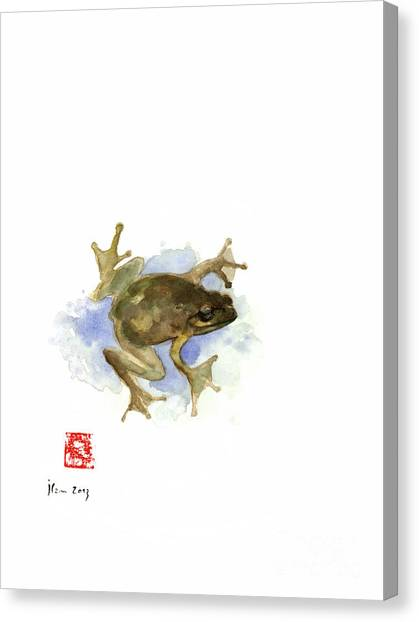 Frogs Canvas Print - Green Yellow Blue Frog Lake River Animal World Water Colors Jewel Collection by Johana Szmerdt