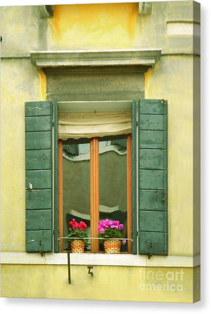 Green Yellow Venice Series Shutters Canvas Print