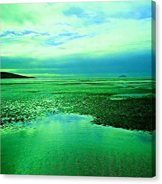 Floss Canvas Print - •green/blue Beach Edit• ©  #beach by Candy Floss Happy