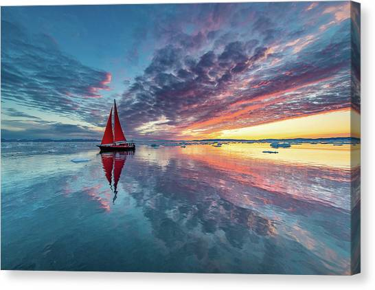 Sailing Canvas Print - Greenland Fire Sky by Marc Pelissier
