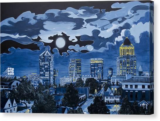 Canvas Print featuring the painting Greensboro Night Skyline by John Gibbs
