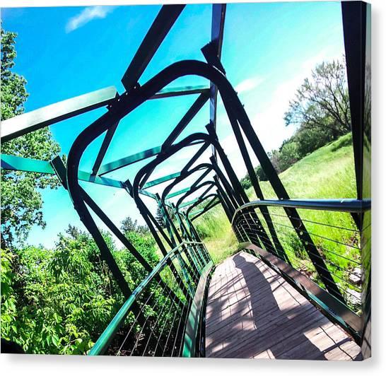 Disc Golf Canvas Print - Greenspace Bridge by Dawdy Imagery