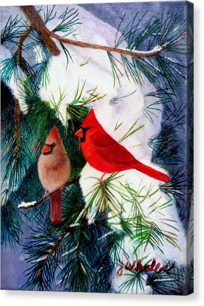 Greeting Cardinals Canvas Print