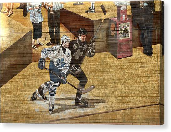 Los Angeles Kings Canvas Print - Gretzky And Gilmour 2 by Andrew Fare