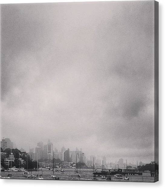 Sydney Skyline Canvas Print - #grey by Busababan Dilokwatana