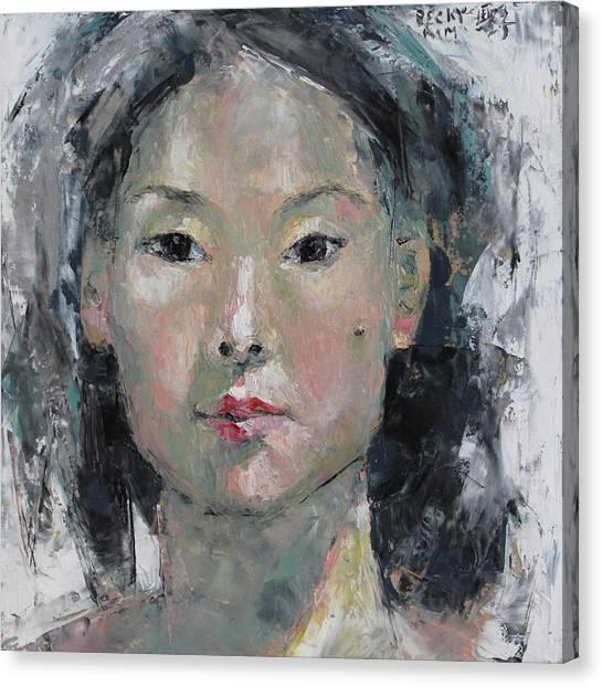 Grey Hair - Self Portrait Under The Ceiling Light Canvas Print by Becky Kim