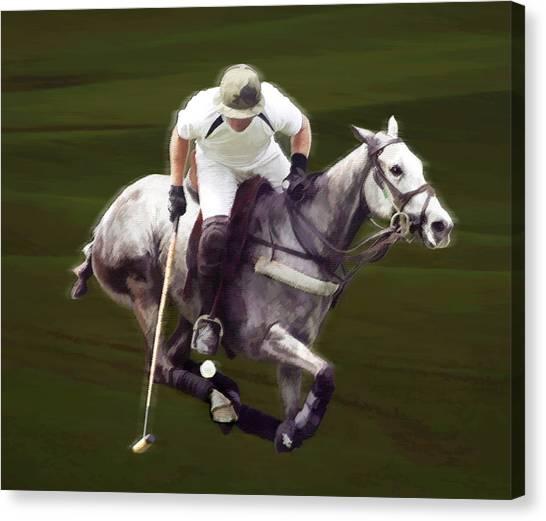 Polo Canvas Print - Grey Polo Pony At Full Run by Elaine Plesser