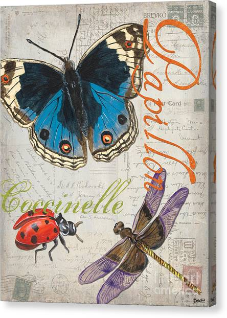 Postcards Canvas Print - Grey Postcard Butterflies 4 by Debbie DeWitt