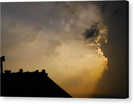 Grey Sunset Over Rooftop Canvas Print