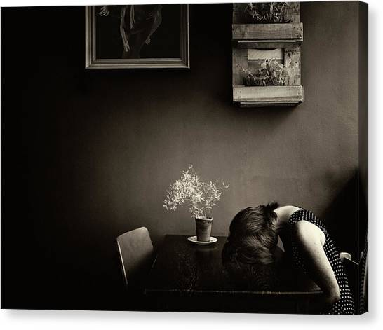 Sepia Canvas Print - Grief by Ton Dirven
