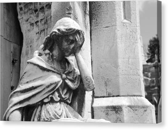 Weeping Canvas Print - Grieving Statue by Jennifer Ancker