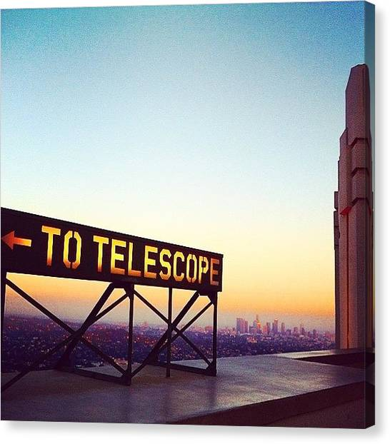 Saturn Canvas Print - Griffith Observatory At Dusk . #dusk by Chase Alexander