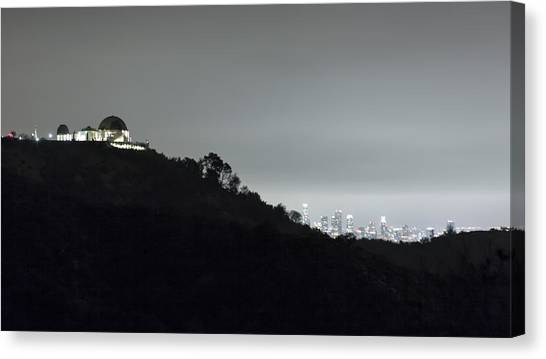 Canvas Print featuring the photograph Griffith Park Observatory And Los Angeles Skyline At Night by Belinda Greb