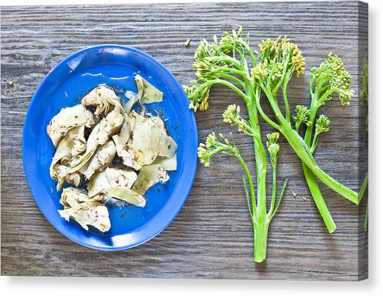 Broccoli Canvas Print - Grilled Artichoke And Brocolli by Tom Gowanlock
