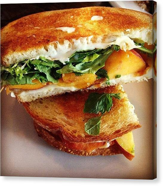 Lettuce Canvas Print - Grilled Cheese With Peaches by Jamie Nakamoto