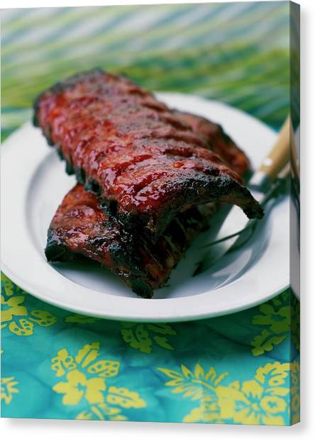 Grilled Ribs On A White Plate Canvas Print